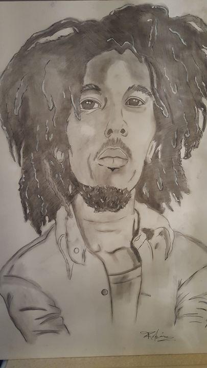 Bob Marley in charcoal. - Million Art