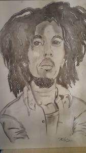 Bob Marley in charcoal.