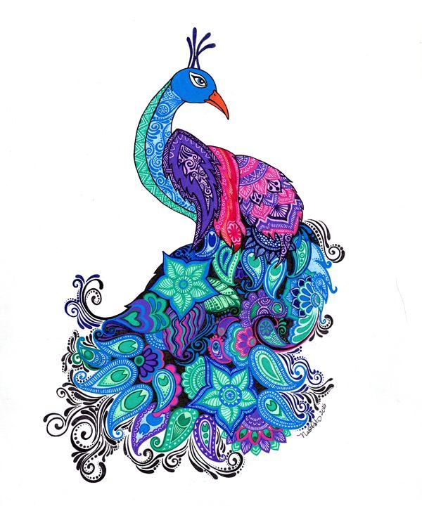 Proud Peacock - Nadine's Zentanglements