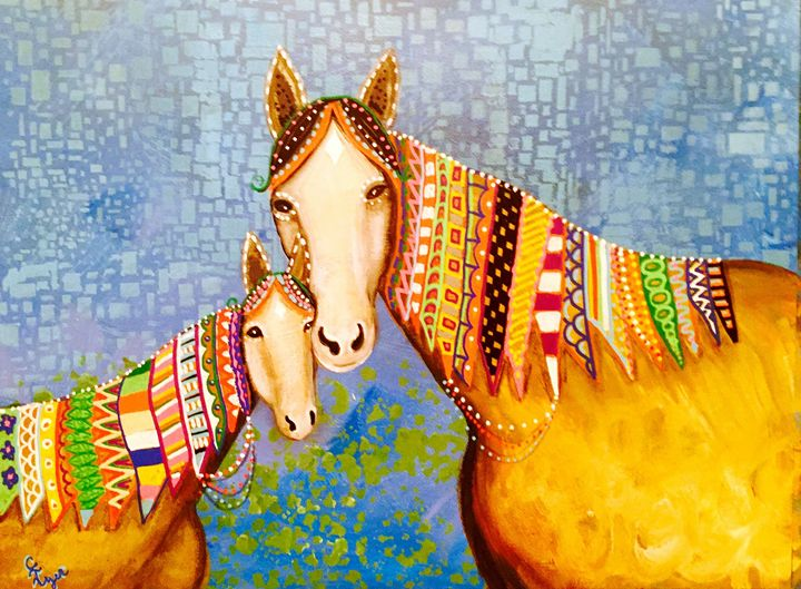 Doodle Horses - Carols Canvas - Art by Carol Lynn Iyer