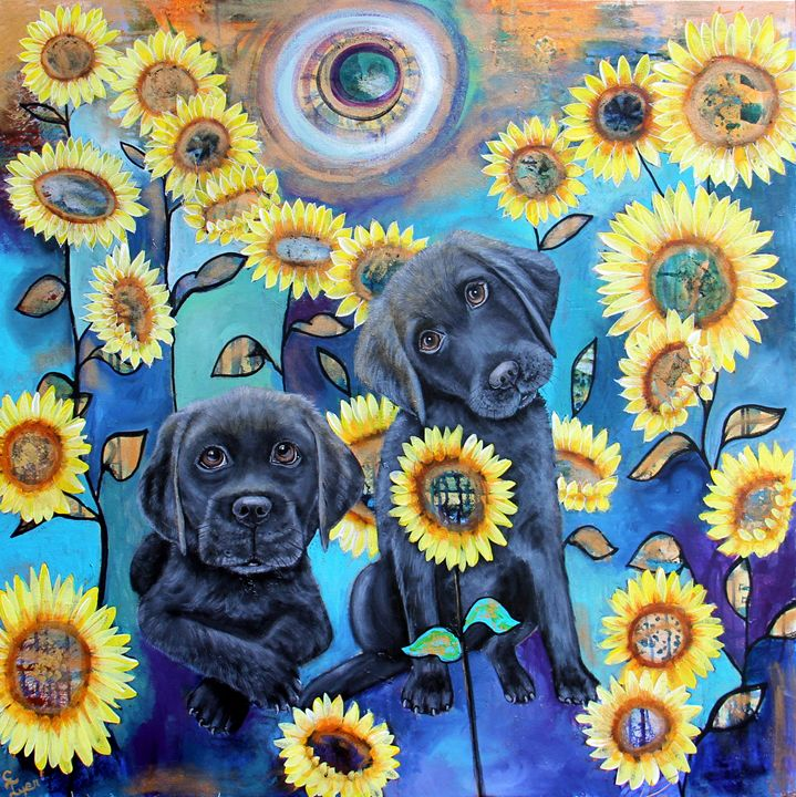 Sunflower Boys - Carols Canvas - Art by Carol Lynn Iyer