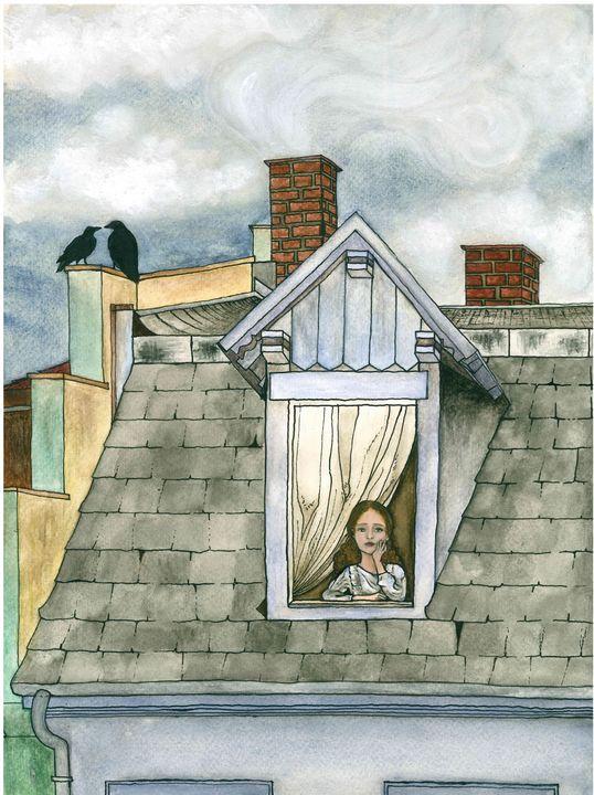 Girl on rooftop window - Minunart