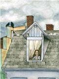 Girl on rooftop window