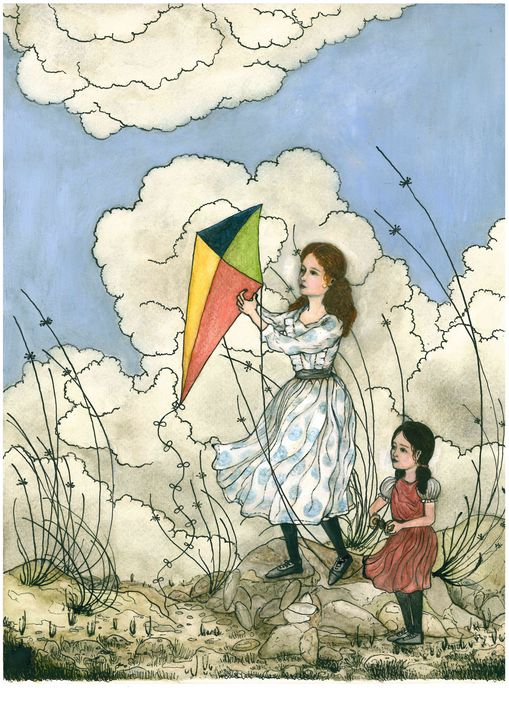 Sisters flying a kite - Minunart