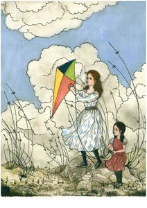 Sisters flying a kite