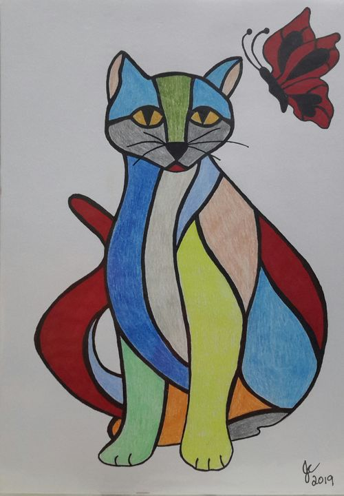 COLOURFUL CAT - Creations by Joyce