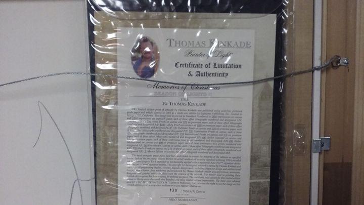 certificate of Authenticity - Thomas Kinkade