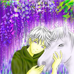 Anime Boy Hugging Horse in Wisteria