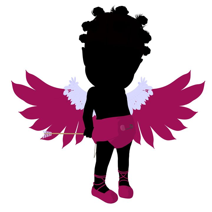 Little African American Cupid Girl - Kathy Gold Art