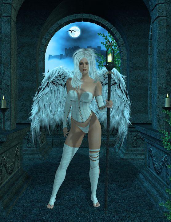 Angel Protecting Mausoleum - Kathy Gold Art