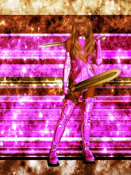African American Sci Fi Warrior - Kathy Gold Art