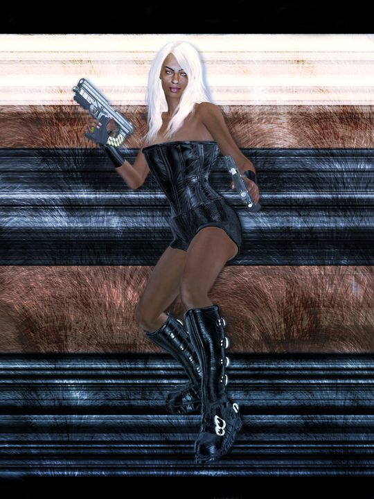 African American Sci Fi Warrior - Kathy Gold Art
