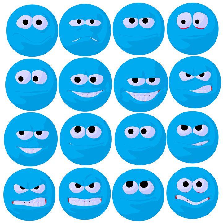 Blue Emojis - Kathy Gold Art