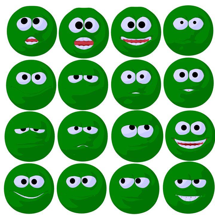 Green Emojis - Kathy Gold Art