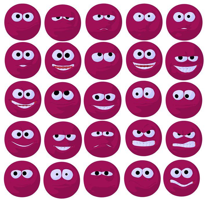 Pink Emojis - Kathy Gold Art