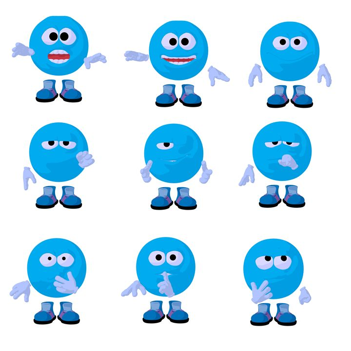 Blue Emoji - Kathy Gold Art