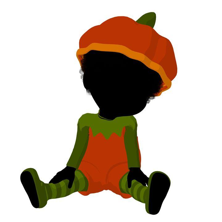 Little African American Pumpkin Girl - Kathy Gold Art