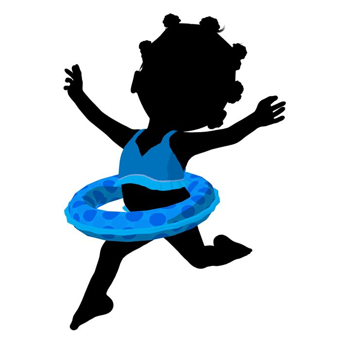 Little African American Swimmer Girl - Kathy Gold Art