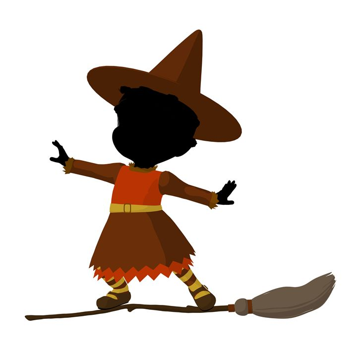 African American Little Witch - Kathy Gold Art