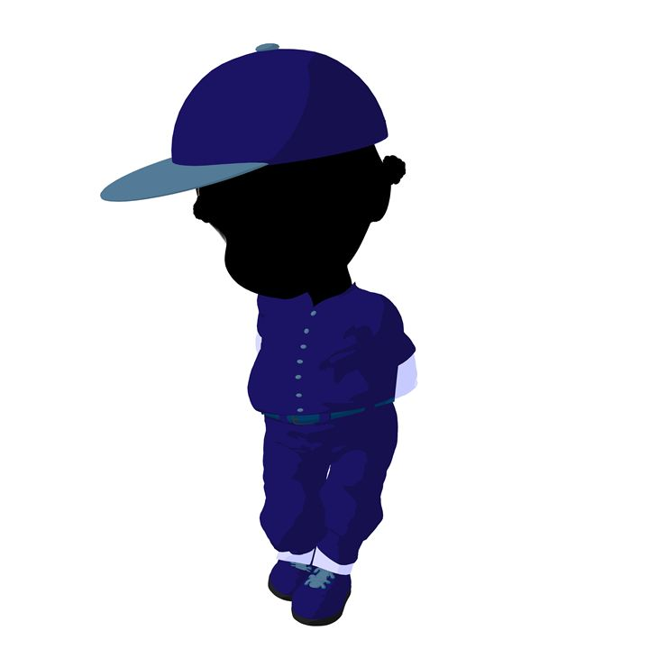 Little African American Baseball Gir - Kathy Gold Art