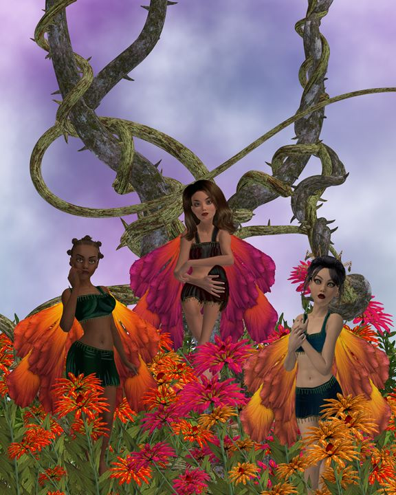 Three Fairies - Kathy Gold Art