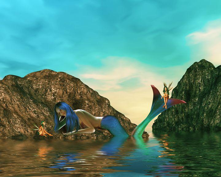 Mermaid And Faries - Kathy Gold Art