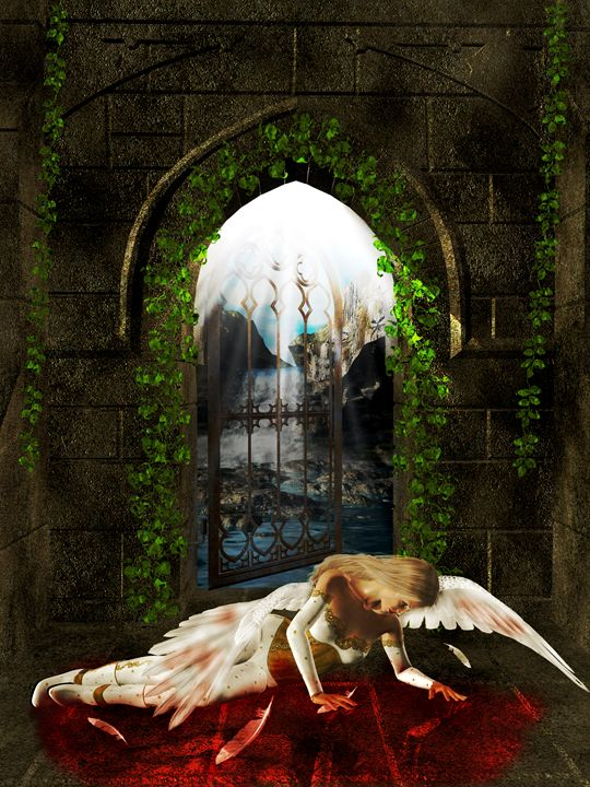 Arch Angel Outside Sanctuary - Kathy Gold Art