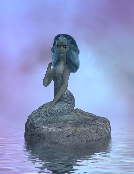 Siren Sitting On A Rock - Kathy Gold Art