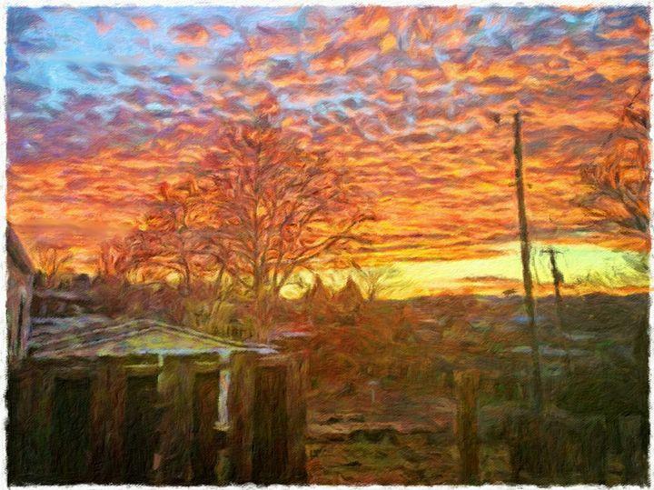 Backyard Sunrise in Winter - MyArt: Brenda Knoll