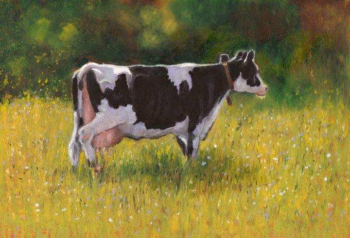 Holtein Cow in Oil Pastel - JoyfulArt