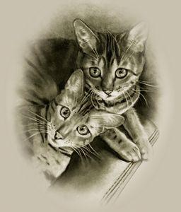 Bengal Cat Couple in Pencil - JoyfulArt