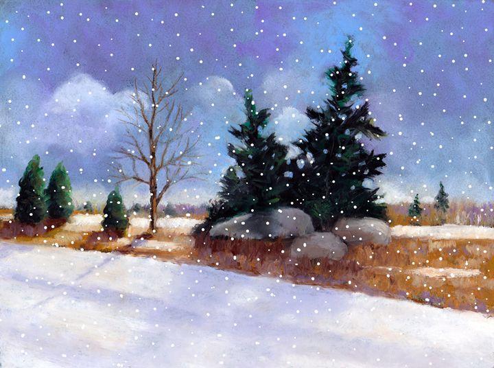 Winter Landscape with Pine Trees - JoyfulArt