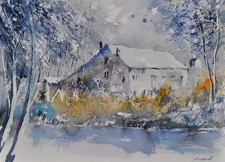 Watercolor old mill - Pol Ledent's paintings
