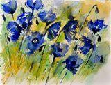Watercolor blue cornflowers