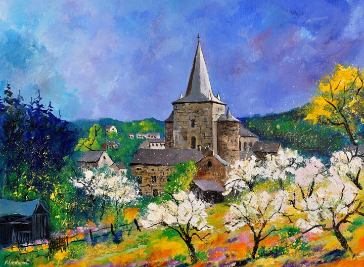 Medieval village Celles - Pol Ledent's paintings