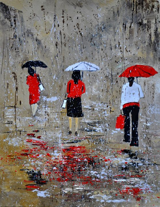 Three in the rain - Pol Ledent's paintings