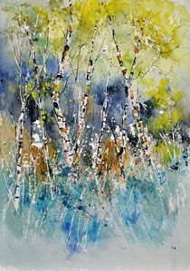 watercolor birch trees - Pol Ledent's paintings