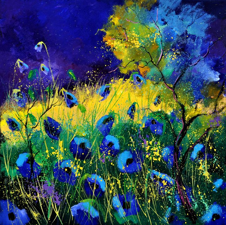 Blue poppies 7741 - Pol Ledent's paintings