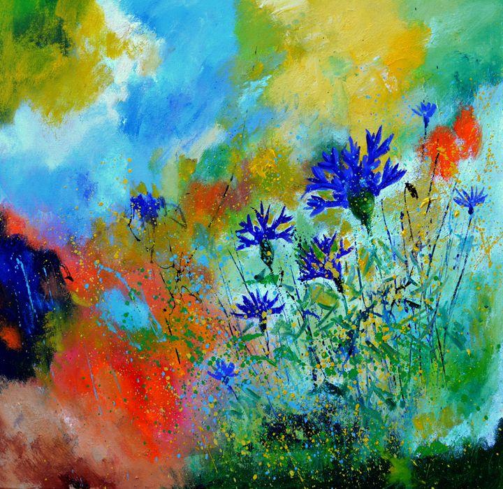 Blue cornflowers 8861 - Pol Ledent's paintings