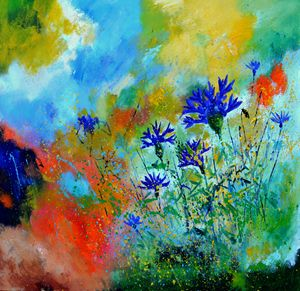Blue cornflowers 8861 - Pol Ledent's paintings