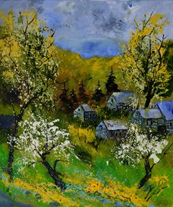 Village in spring - Pol Ledent's paintings