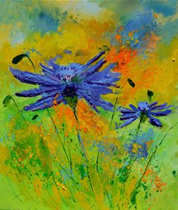 Two cornflowers - Pol Ledent's paintings