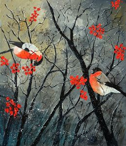 red birds in winter - Pol Ledent's paintings