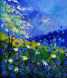 Blue wild flowers 676110 - Pol Ledent's paintings