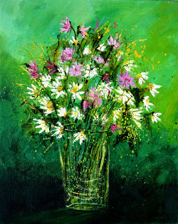 Pink wild flowers - Pol Ledent's paintings