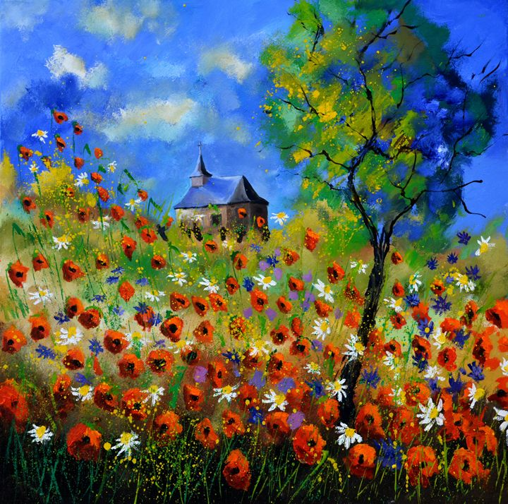 Poppies in Houroy - Pol Ledent's paintings