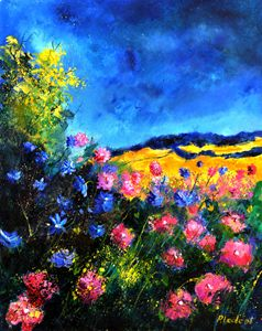 Pink wild flowers - Pol Ledent's paintings