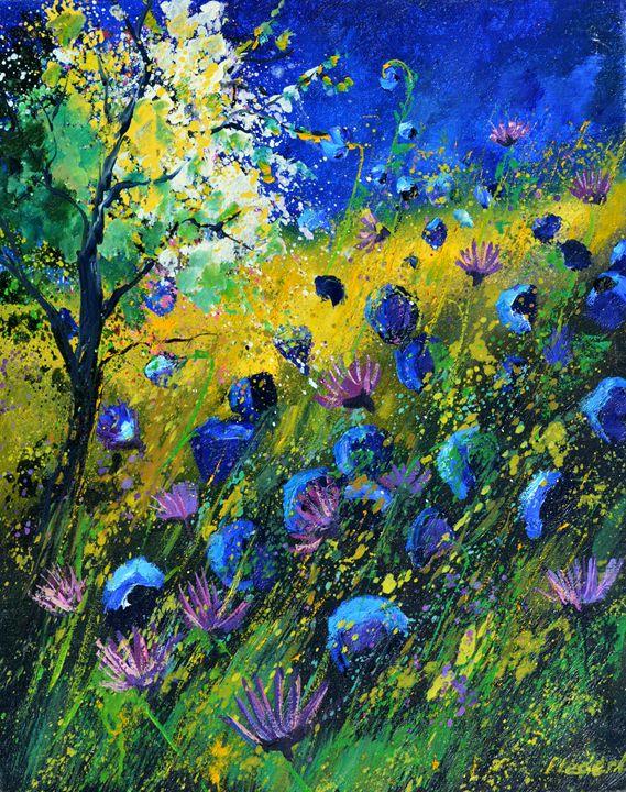 Blue wild flowers 4689 - Pol Ledent's paintings
