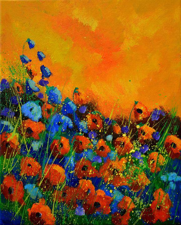 Orange poppies 4551 - Pol Ledent's paintings