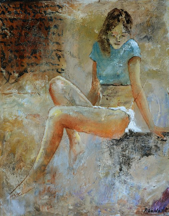Sitting young girl 45 - Pol Ledent's paintings